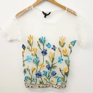 Unique Spectrum Knits Sheer Embroidered Top